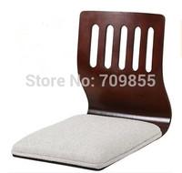 (4pcs/ lot) Floor Seating Living Room Furniture Walnut Finish White Cushion Japanese Style Tatami Zaisu Legless Floor Chair