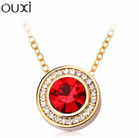 NLA020 Round Coin Pendant Necklace Made With Top Austrian Crystal Thick 18K Gold Plated Free Shipping