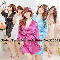 New 2013 Summer sexy sleepwear V-neck temptation Ice silk lacing robe bathrobe lace women's night gowns kimono