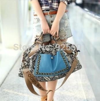Hot 2015 national wind bag one shoulder women's handbag large rivet messenger bag canvas women's bags B027