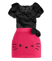 Retail 2013 Hello Kitty Bow dress lace girls tight dress 2 colors 5 size available 2pcs suit ON-SALE GQT-186
