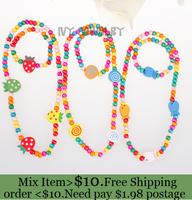 ZH0071  Korean wooden childrens jewellery bead sets bracelet+necklace Mix model Christmas kids gift