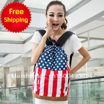 2013 fashion Free shipping  girls bag  word flag american flag child back to school casual backpack middle school students bag