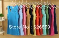 2013 women's thread 100% cotton ultra long spaghetti strap basic vest free shipping 002 Comfortable fabric 008