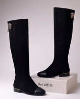 2013 Women's Genuine Leather Knee-length Boots, Fashion High-leg boots, women's Flat shoes,US size 4.5--10,Plus Size in stock