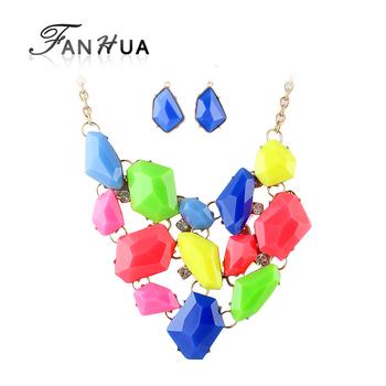 Candy Color Rhinestone Choker  Bib Necklace and Statement Earrings Designer Jewelry Sets Bijoux Women