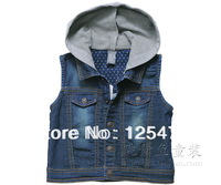 Wholesale and retail new 2014 hoody denim vest,deep blue soft fashion denim vest (size for4-5years)Free shiping