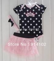 Drop shipping Hot sale 1set Baby Girls 3 Piece Suits Short Romper +Tutu Skirt + Headband Girls Summer Clothing sets 3-24M