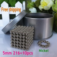 Free shipping neocube / 5mm 216+10pcs magnetic balls cube buckyballs at metal tin box nickel color