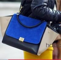 Free shipping High Quality Smiley Handbag Vntage Bat Single Shoulder Bag bump color leather big ear ghosts phantom bag