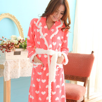 2013 female winter sleepwear brand lovely warm pink soft coral fleece Sweet Dream princess pajamas bathrobe,women home wear