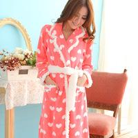 free 2014 women warm night bath robe de chambre feminino brand soft pink dressing gown coral fleece house peignoir femme