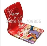 (6pcs/lot) Furniture Oriental Style Living Room Chair Red Geisha Pattern Floor Tatami Zaisu Legless  Meditation Chairs Wholesale