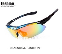 Polarized Light Cycling Riding Bicycle Bike UVA UVB Sports Sun Glasses  5 Lens BLUE