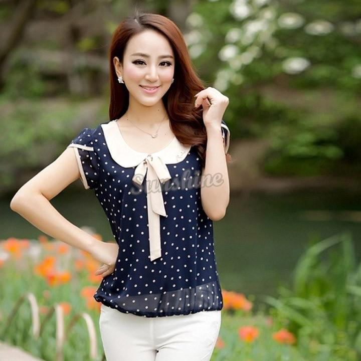 Plus size 2014 roupas femininas senhoras blusas de manga curta soltas blusa camisas Tops casuais para as mulheres SV24 SV003328(China (Mainland))