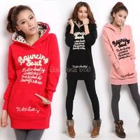 Drop Shipping Female Medium-long Plus Size Velvet Thickening Sweatshirt Hoodie Women Printed Hooded Dress Hoodies B20 CB032005