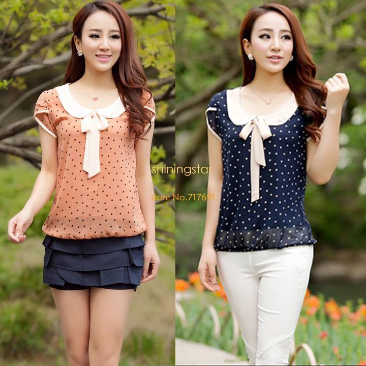 Nova 2014 venda quente mulheres casuais doce Ladies Chiffon Dot boneca Collar manga curta Tops blusas camisas SV24 SV003328(China (Mainland))