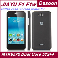Black white WCDMA Russian menu Jiayu F1 F1w Cell phones MTK6572 Dual Core 512MB RAM 4GB ROM Android 4.2 GPS/ Koccis