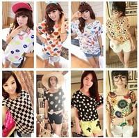 Hot Sale 16 styles 2013 New Bird Printed Women Colorful Short Sleeve shirts Batwing Loose Chiffon Blouse