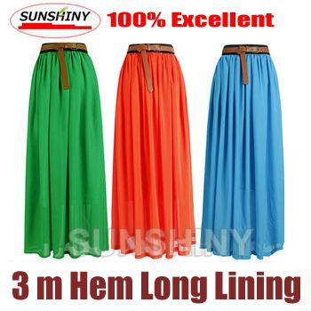 SUNSHINY Original 2015 New 3 M Big Hem Excellent Maxi Skirt Fashion Long Plus Size Princess Pleated Chiffon Skirt Classic AS-8
