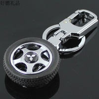 Rotary tyre rim model MITSUBISHI key ring for car emblem keychain for 4s male women's