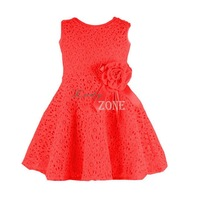 2014 New Summer Cute Baby Kids Child Girls Flower Sleeveless Cotton Lace Tank Party Princess Dress 3 Colors 1-6years 20120