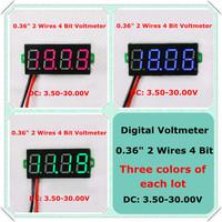 "Three colors of each lot 4 Digit 0.36"" Digital Voltmeter Multimeter 3.50--30V Two wires Voltage Panel Meter LED  [ 12 pcs / lot]"