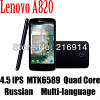 "SGP Free Original Russian Menu lenovo A820 MTK6589 Qual Core Smart Phone 4.5"" IPS Android 4.0 4GB ROM 1.2GHz 3G Bluetooth GPS"