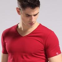 S-4XL Men's wear Summer Slim Sexy short man short-sleeved's famous shirt free 3D t-shirts Brand v-neck cotton t shirt for man