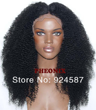 """Hot selling glueless heat resistant black /dark brown Afro curly Synthetic Lace Front wig #1/#2 (Ophelia-22.25""""M)(China (Mainland))"""