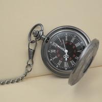 dual display gift retro quartz machinery men antique black Roman pocket fob watch hour watches wholesale price good quality