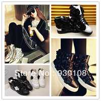 famous brand genuine leather flat woman's shoes 2013!beautiful high top flowers sneakers for women!