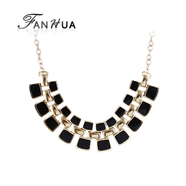 New Coming Gold Alloy Fashionable Hollow Out Enamel Punk Statement Necklaces for Women Gift(China (Mainland))