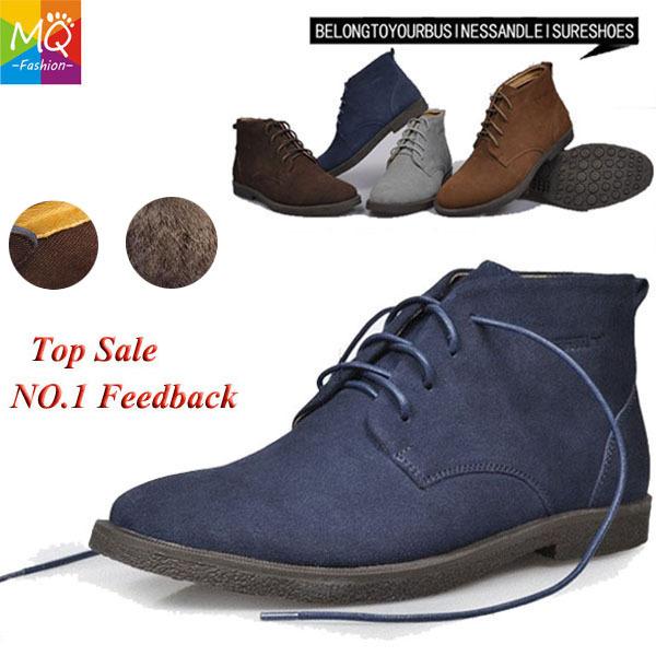 New hot 2013 100% classique en cuir véritable fourrure +no fourrure bottes de neige hommes bottes en daim semelle en caoutchouc chaussures de marque en plein air de travail ms1001
