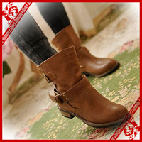 FREE SHIPPING 2013   fashion women's martin boots flat vintage buckle motorcycle boots size 5.5-8 (retail or wholesale)