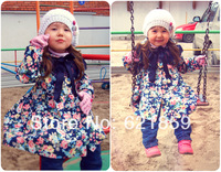 new spring and Winter warmth baby girls Fashion outerweargauze bow Hooded 100% cotton Princess coat  Country style jacket