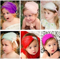 Low Price 10pcs/lotBaby Girl&Boy Feather Headband Baby Fashion Hair Band Colorful Headwrap Free Shipping