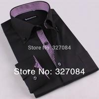 High Quality Slim Shirts men Long Sleeve Business Casual dress shirt Cotton size xxxl new 2015 men brand Free Shipping GZ07