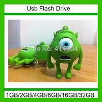 wholesales! Genuine new fashion 4gb/8gb/16gb/32gb green one eye monster usb 2.0 memory pen drive disk thumb/stick/gift