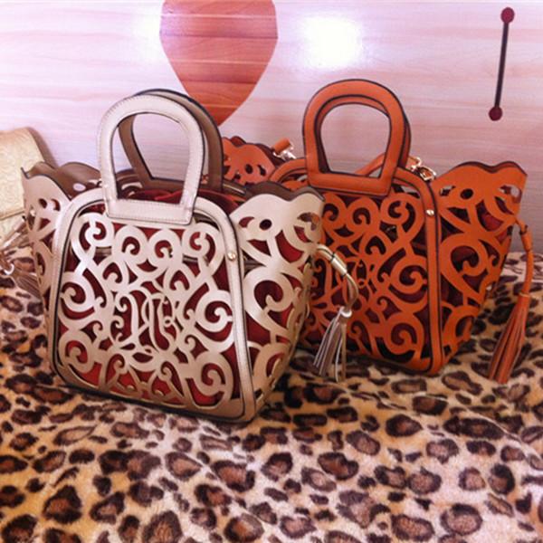 8 Colors Hot Sale tassel cut out women handbag hollow out vintage big purse shoulder bags totes(China (Mainland))