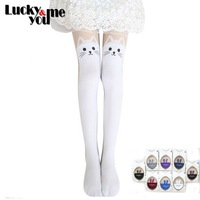 Free Shipping 2014 Fall New Arrive Women Fashion Black White Blue Purple Cat Rabbit Stockings Velvet Patchwork Pantyhose Tights