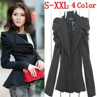 2014 fall fashion for women business suits blazers feminino and basic jackets big plus size dovetail Black coat winter XXXL XXL