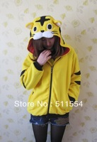 Free Shipping  Tiger Animal Hoodies with Ears Couple Cute Cartoon Spring Winter Yellow Chesp Women Hoodie