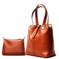 Free shipping!!!2013 New arrival women's Genuine leather fashionable Composite package handbag portable shoulder the bucket