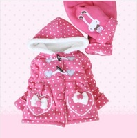 free shipping toddler girl thicken cotton-padded fluff inside warm clothing set girl winter outwear+pant 2pcs