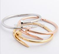Fashion Women/Men Nail Bangle Gold 316L Stainless Steel Classic CZ Diamond Rivet Bracelet Gift