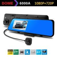 6000A Car DVR Rearview Mirror Camera Recorder 4.3'TFT LCD Full HD 1920x1080p Rear view camera 720P with G-sensor Dual lens