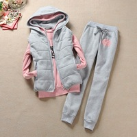 Casial Hoodies Sweatshirts Thickening Pullover Hoody Panty Vest Letter Sports Suit Women Winter Clothing Warm Tracksuits