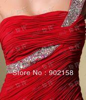 Elegant Beaded One Shoulder Mermaid Long  Red Evening Gowns Dresses