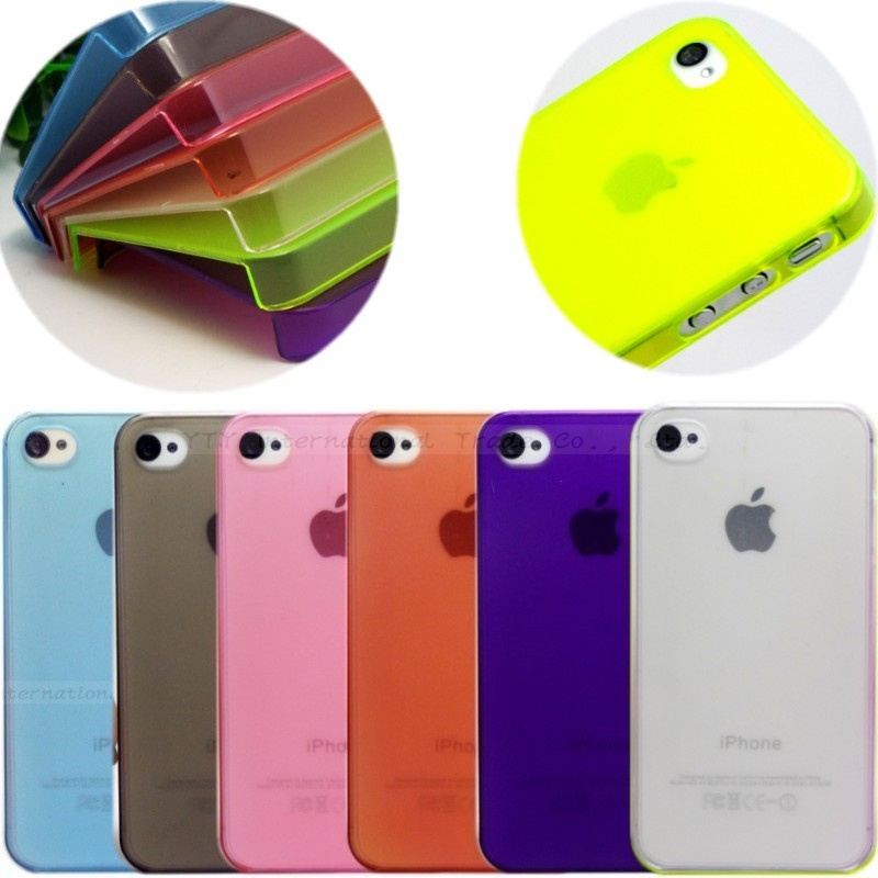 MOQ:1PC 0.5mm Ultra Thin Slim Matte frosting Transparent Cover Case For Apple iphone4 iphone 4 4s 4G Moblie Phone Shell/Cases(China (Mainland))